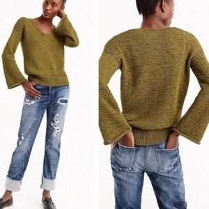 J. Crew Green Flare Sleeve Swing Sweater